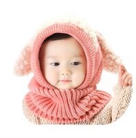 Wholesale Cheap Children Scarfs - Fashion Lovely Winter Warm Baby Caps Kids Girls Boys Cloak Coif Hood Scarf Caps Children Hats Knitted 2017 Cheap In Stock