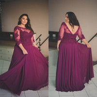 Wholesale Lace Maternity Tops - Plus Size Evening Gowns Purple Chiffon Backless Prom Dresses Sheer Neck Lace Appliques Top Formal Dress with Illusion Sleeves Custom Made