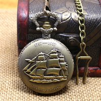 Wholesale Low Price Good Quality Watches - Wholesale-New men gift Sailing quartz boat ship pocket watch with short waist chain hour low price good quality retro vintage father P77C