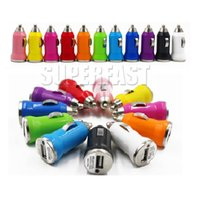 Wholesale Micro Usb Car Bullet - For iPhone 6 USB Car Charger Colorful Bullet Mini Car Charger Portable Charger Universal Adapter For iPhone 5S 200 Pieces DHL Free Shipping