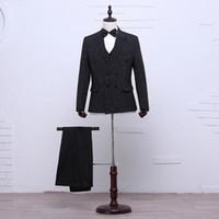 Wholesale Men S Wedding Suit Back - Groom Tuxedos Light Grey Groomsmen S-XXL Side Vent Best Man Suit Wedding Men Suits Bridegroom (Jacket+Pants+Tie+Vest)