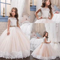 Wholesale Cyan Crystal - Arabic 2017 Crystals Lace Flower Girl Dresses Vintage Ball Gown Child Dresses Beautiful Flower Girl Wedding Dresses
