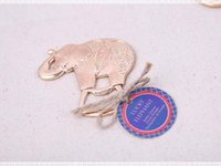 Wholesale Elephant Wedding Party Favors - Cartoon Gold Plated Lucky Elephant Bottle Opener Party Reception Decoration Souvenirs Gifts Wedding Favors Free shipping