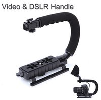 Wholesale Mini Handheld Stabilizer Cameras - U C Shape Flash Bracket Holder Video Handle Handheld Stabilizer Action Grip for DSLR SLR Camera Mini DV Camcorder Smartphone