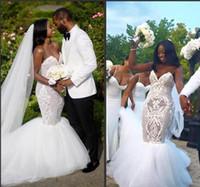 vestidos de sirena para la boda al por mayor-2017 Más nuevo Sexy de encaje Más Tamaño Playa Blanco Cristalino Vestidos de Novia Sirena Sexy Sirena Con Cuentas Vestidos de Novia