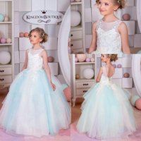 2017 New Glitz Cheap Flower Girls Robes Pour Mariage White Light Blue Lace Appliques Beads Ball Ball Anniversaire Enfants Girl Pageant Gowns