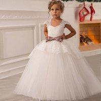 Wholesale Elegant Gowns For Girls - Elegant Flower Girl Dresses 2017 Custom Made Lace Ball Gown Floor Length Cap Sleeve Dresses Vestidos Comunion Dresses for Girl