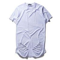 Wholesale Destroyed Black Shorts - Fashion extend oversized T Shirt Kanye West Hip Hop Rap t Shirt Men Ripped Destroy Hole Cotton T-Shirt