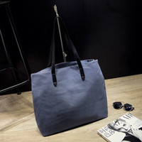 Wholesale Womens Extra Large Handbags - Free Shipping Female Casual Pure Color shoulder bag Classic styles simple womens bag Canvas large zipper Square Handbag Euro styles 16