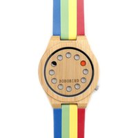 Wholesale Round Bamboo Box - Women Ladies Watch 12 Holes Design Bamboo Watches with Colorful Leather Band in Box Accept Drop shipping