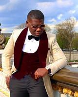 Wholesale Groom Green Tuxedo - Wholesale- Hot Sale Shawl Lapel Black Red Groom Tuxedos Wedding Suits for Men 4 Pieces (Jacket+Pants+vest+Bowtie) Groomsman Suits Custom
