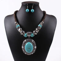 Wholesale Silver Jewellery Necklace Sets - New Women Jewellery Tibetan Silver CZ Crystal Chain Pendant Necklace Earrings Set Round Turquoise Jewelry sets