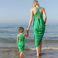 Wholesale Sea Green Dresses - Mother and dauther dress girls backless princess dress womens cross bind beach vest long dress 2017 family sea holiday clothing T4966