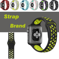 Wholesale Loop Bracelets - Sport Silicone More Hole Loops Straps Bands Watchband For Apple Watch iWatch Series 1 2 3 Strap Band 38 42mm Wrist Bracelet VS Fitbit Strap