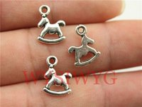 Wholesale Horse Rocking Charms - Wholesale-WYSIWYG 15pcs 13*10mm antique silver Rocking Horse charms