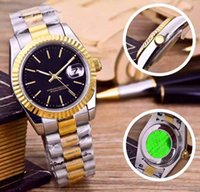 Wholesale Luxury Watches Swiss Made - Top brand mens mechanical watches Luxury 18K Yellow gold Steel strap Men Fashion black Automatic Date log watch for man New model Swiss made