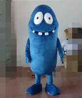 Wholesale Worm Costumes - SX0727 free shipping 100% real photos of blue worm bug mascot costume for adult to wear