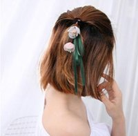 Wholesale Stylish Pearl Rings - Simple and stylish and elegant hair color fabric flower bud Ladies Girls Hair rope ring ribbon