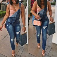 Wholesale Straight Loose Jumpsuit - 2017 Europe and the United States Fashion Skinny blue overalls Water hole Denim Long Jumpsuits Pants Sexy Women Jeans 2XL