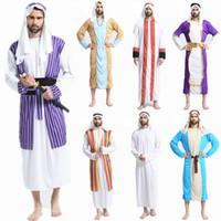 carnaval vestido homem venda por atacado-Homens Traje Árabe Traje Do Oriente Médio Adulto Roupas de Carnaval do Dia Das Bruxas Trajes Cosplay Fantasia Vestido de Festa Decoração