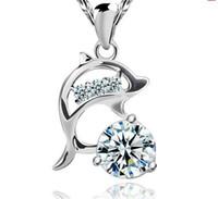 925 silber halskette delphin großhandel-925 Sterling Silber Überzogene Anhänger Halsketten Hochzeit Dame Frauen Zirkonia Dolphin Anhänger Wasser Halskette Silber Farbe Marke Aussage Schmuck