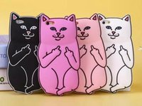 3D Soft Silicon Cat Case Middle Finger bolso Cartoon Animals Rubbe silicone Tampa para iPhone 5S 4 6 6s iPhone6 ​​Plus 7 8