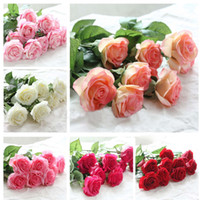 Wholesale Latex Rose Bouquet - white color 10 Head Decor Rose Artificial Flowers Silk Flowers Floral Latex Real Touch Rose Wedding Bouquet Home Party Design Flowers