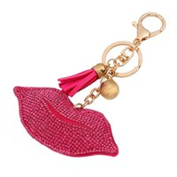 Wholesale Red Lips Keychain - hot sale bag accessories charms key rings Fashion Cute red lips Candy color tassels diamond crystal metal leather keychain