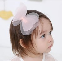 Wholesale Chiffon Hair Clip Girls - Lovely Girls Children Hairclip Lace Chiffon Bowknot Barrettes Kids baby Hair Accessories Butterfly Bows Hair Clip hairpins