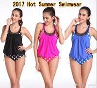Wholesale Polka Dot Bathing Suit - 2017 New Swimwear for Women Striped Tankini Two Piece Suits Plus Size XXXL Casual Sexy Bathing Suit with Polka Dot MK512