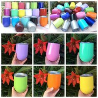 Wholesale Coating Walls - 19 Colors 9oz Egg Cup Stemless Wine Cup Powder Coated Cocktail Glasses Double Wall Drinkware Mugs Metal Drinkware With Lid CCA6548 100pcs
