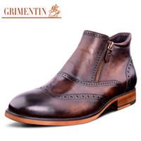 Wholesale Vintage Cowboy Boots - Wholesale- GRIMENTIN fahsion classic vintage cowboy ankle boots men shoes casual genuine leather brown blackd designer mens dress boots