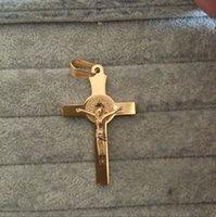 corrente longa antiga venda por atacado-Colar Pingente de Cruz Das Mulheres Dos homens Com Cadeia de Ouro Antigo Cruz Crucifixo Jesus Pingente de Colar de 55 cm de comprimento cadeia