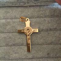 cadena larga antigua al por mayor-Collar de mujer con colgante de cruz para hombre con cadena chapado en oro antiguo crucifijo cruz colgante de jesús collar de 55 cm de cadena larga