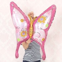 Wholesale Wholesale Butterfly Balloons - 10pcs lot Inflatable air Animal butterfly Foil balloons room decoration cartoon balloon party supplies Globos baby toy