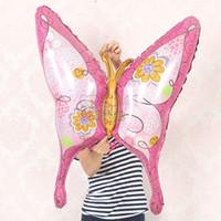 mariposa fiesta suministros decoraciones al por mayor-La hoja animal de la mariposa inflable del aire 10pcs / lot hincha el partido del globo de la historieta de la decoración del sitio suministra el juguete del bebé de Globos