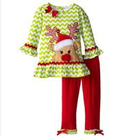 Wholesale Grey Christmas Pajamas - DHL Children Kids Clothes Long Sleeve T-shirt Tops + Pants 2pcs Infant Christmas Pajamas Set Boys Girls Christmas Suit Festival Clothing