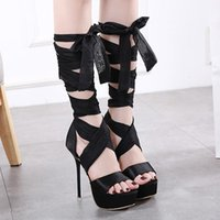 Trendy Black Chiffon Strappy High Heels Stiletto Ankle Wrap Gladiator Sandals Party Club Wear 14CM Taille 35 à 40