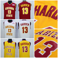 2017 Arizona State Sun Devils Jersey 13 James Harden Jersey Amarillo Rojo Blanco Barato Hombres Universidad James Harden College Basketball Jerseys