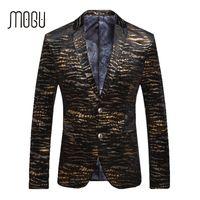 Wholesale Tiger Blazer - Wholesale- MOGU Gold Print Men's Blazer 2017 Spring New Arrival Fashion Tiger Stripes Casual Suits Slim Fit For Male Asian Size Blazer Men