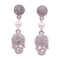 Wholesale Silver Skull Earrings Women - 2017 new punk crown skull Dangle earrings for women Jewelry Fashion club Halloween delicate gem crystal skeleton drop earrings Free shipping