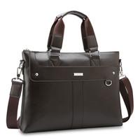 compartimientos maletín al por mayor-Bolso maletín de cuero impermeable para laptop con compartimiento secreto para negocios