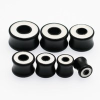 Wholesale Trendy Wooden Jewelry - 14pcs wholesale fashion black wooden flesh ear tunnels plug earrings stretching gauge kit hollow expander tragus body piercing jewelry new