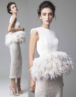 Reference Images ostrich feather wraps - tea length ostrich feather overskirt wedding dresses Krikor Jabotian outfits jewel neckline sheath wedding gowns
