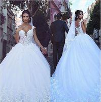 Wholesale wedding dress garden lace up for sale - 2017 Vestios De Novia Backless Wedding Dresses V neck Sleeveless Lace Up Back Lace Appliques Bridal Gowns with Long Train