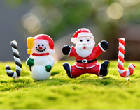 Wholesale Garden Christmas Ornament - Free Shipping Resin Snowman Santa Claus Set Craft Garden Decoration Ornament Miniature Plant Micro Landscape Bonsai Figurines DIY Christmas