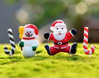 ingrosso piante in miniatura-Spedizione gratuita resina pupazzo di neve babbo natale set decorazione del giardino del mestiere ornamento in miniatura pianta micro paesaggio bonsai figurine diy natale