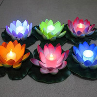 Wholesale Led Rose Floating Candles - Artificial LED Floating Lotus Flower Candle Lamp With Colorful Changed Lights For Wedding Party Decorations Supplies Free Shipping