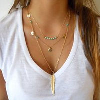 Wholesale Feathered Layered - Handmade Jewelry Gold Plated Glaze Coin Beads feather long pendant layered Necklaces for women