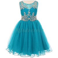 Wholesale Girls Teal Party Dress - 2017 New Teal Tulle Short Girls Pageant Dresses Knee Length Beading Flower Girl Dress Kids Prom Evening Gowns Girls Formal Party Dresses